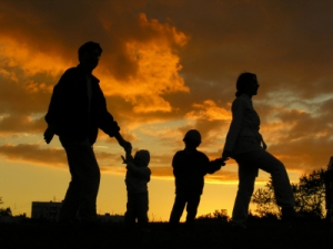 family of four sunset 3